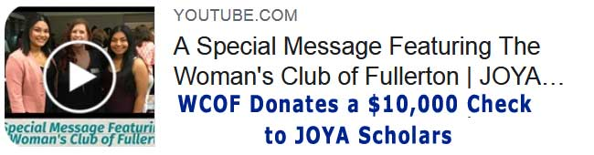 WOMAN'S CLUB OF FULLERTON Check donation JOYA